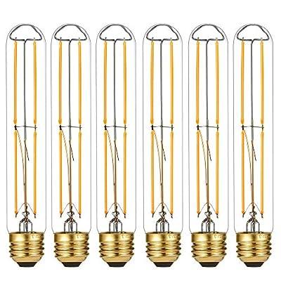 LiteHistory Dimmable E26 Light Bulb 6W Equal 60 watt led Light Bulb AC120V Warm White 2700K Edison Light Bulbs 60 Watt 600LM T10 led Bulb for Rustic Pendant,Industrial Pipe,Wall scones,Vanity 6Pack