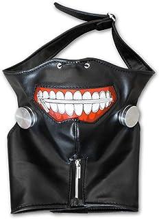 Cosplaza - Máscara de cosplay de cuero negro, con