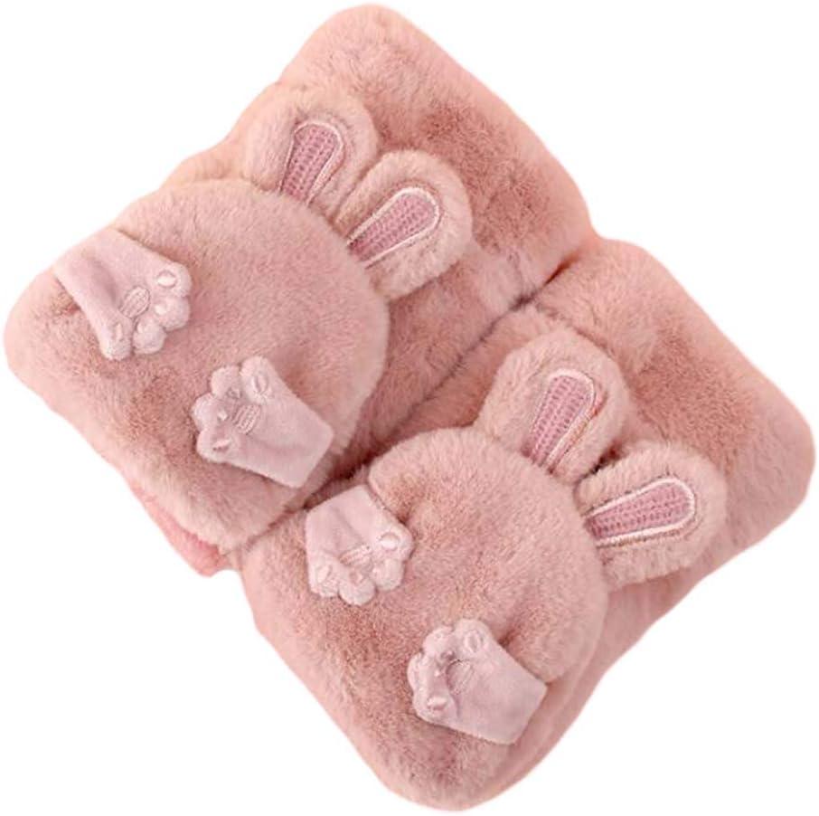 Panda Legends 1 Pair Womens Girls Fingerless Winter Warm Flip Mitten Gloves Cute Rabbit Ear Gloves Christmas Birthday Gift, Pink