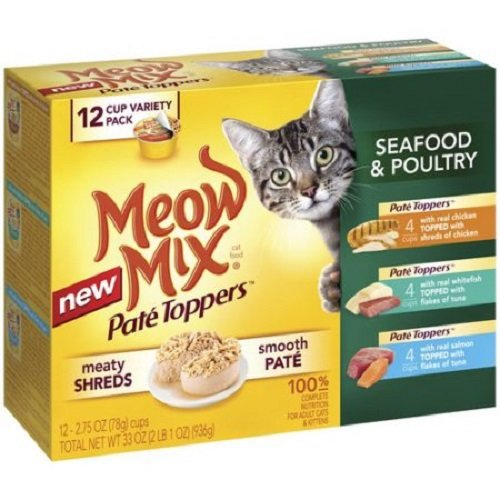 Meow Mix Pate Toppers Seafood & Poultry Wet Cat Food Variety Pack, 2.75-Ounce Cups bite-size shreds of seafood or poultry, layered over smooth pate by Meow Mix