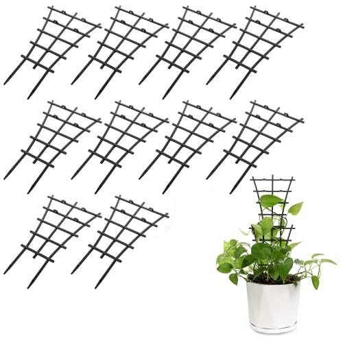 Set di 10 mini traliccio da giardino in plastica a castello supporto per piante in vaso da giardino per piante rampicanti in vaso vigne.