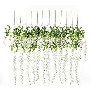 Luyue 3.6 Feet Artificial Silk Wisteria Vine Ratta Silk Hanging Flower Wedding Decor, 12 Pieces (White)