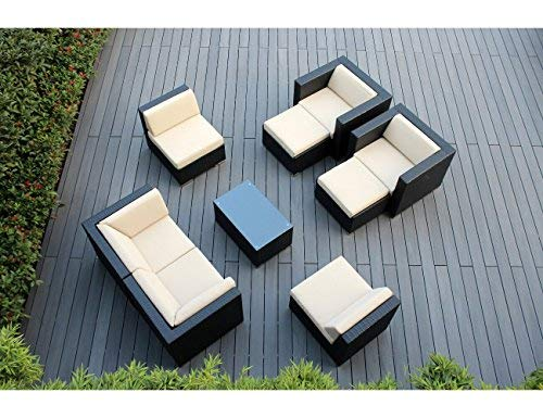 Hot Sale Genuine Ohana (Sunbrella Antigue Beige 5422) Outdoor Patio Sofa Sectional Wicker Furniture 9pc Couch Set with Free Patio Cover (PN0910), Sunbrella Beige