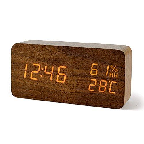 FIBISONIC Wecker Digitale Tischuhr LED Datum Feuchtigkeit Temperatur Holz Standuhr Braun