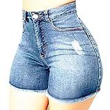 YANFANG Pantalones Cortos de Mezclilla Rotos para Mujer Pantalones Vaqueros Rasgados Hotpant de Cintura Alta Pantalones Ajustados,calzón, Shorts,denimYANFANG,Light Blue,L