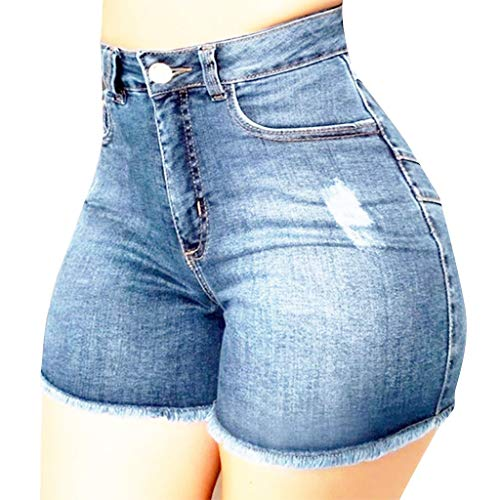 YANFANG Pantalones Cortos de Mezclilla Rotos para Mujer Pantalones Vaqueros Rasgados Hotpant de Cintura Alta Pantalones Ajustados,calzón, Shorts,denimYANFANG,Light Blue,S