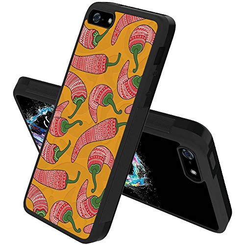 cghzkw2 Case for iPhone 5, iPhone 5S, iPhone SE, iPhone 5/5S/SE, Special Case Tire Pattern Anti-Fingerprint Soft Edges Slim Thin Design Hot Peppers Red Pepper Mexican, Black