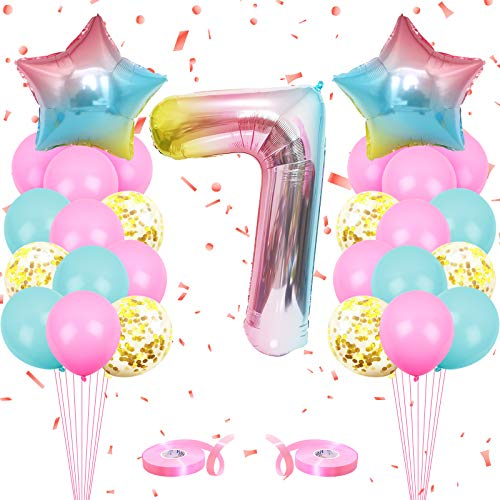 onehous Luftballon 7. Geburtstag Rosa, Geburtstagsdeko 7 Jahr Mädchen, Ballon 7 Geburtstag, Riesen Folienballon 7 Rosa, Zahlenballon 7 Deko zum Geburtstag