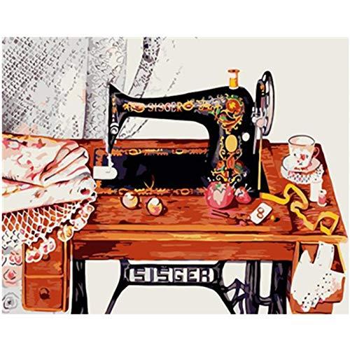Lonfenner Xhzzdhbc olieverfschilderij schilderen op cijfers digitale muurkunst afbeelding naaimachine stilleven DIY schilderij acryl schilderij met frame