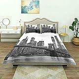 Funda nórdica, Puesta del Sol del Puente de Brooklyn con Manhattan American New York City Ciudad Famosa, lujoJuego de Ropa de Cama cómoda Microfibra Ligera