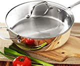HOMICHEF 9.5 Inch Nickel Free Stainless Steel Saute Pan With Lid Induction Oven Safe - Premium...