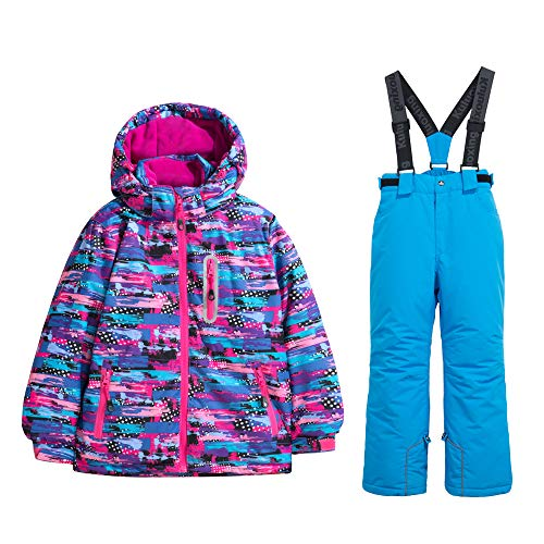 WOWULOVELY Girls Ski Jacket + Pants Snow Insulated Suit Windproof & Waterproof (6, 23 Blue)