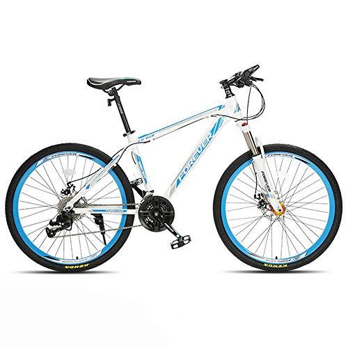 JHKGY 27 Velocidades Bicicleta De Montaña - Freno De Disco Doble,Bicicleta De Montaña para Adultos De 26 Pulgadas,Bicicletas De Marco De Suspensión En Negrita De Aleación De Aluminio,Blanco