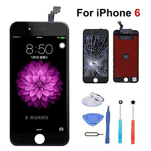 euskDE kompatibel mit iPhone 6 Display Ersatz Set Schwarz Berührungssensitiver Bildschirm Glas mit Komplettes Kostenlose Werkzeuge Für iPhone 6 Display 4.7