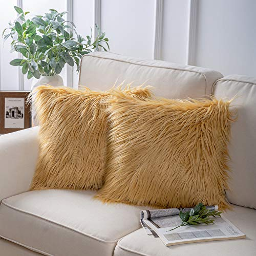 Phantoscope Pack of 2 Faux Fur Throw Pillow Covers Cushion Covers Luxury Soft Decorative Pillowcase Fuzzy Pillow Covers for Bed/Couch,Ginger 18 x 18 Inches