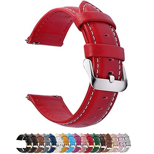 Fullmosa 12 Farben Uhrenarmband, Axus Serie Lederarmband Ersatz-Watch Armband mit Edelstahl Metall Schließe für Herren Damen 18mm Rot