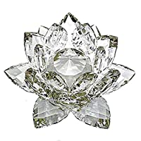 [TradeWind] クリスタルガラス 水晶玉 蓮の花 ロータス サンキャッチャー 風水 開運 インテリア プリズム 仏壇 仏具 オブジェ ギフト プレゼント (クリア 14cm)