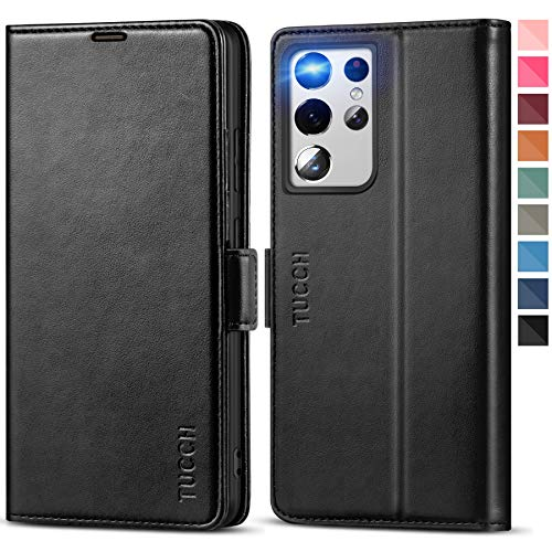TUCCH Wallet Case for Galaxy S21 Ultra, [TPU Shockproof Interior Case] Kickstand [RFID Blocking] Card Slot, Magnetic PU Leather Folio Cover Compatible with Galaxy S21 Ultra 5G 6.8-Inch, Black