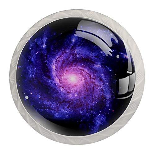 Manijas para cajones Perillas para gabinetes Perillas Redondas Paquete de 4 para armario, cajón, cómoda, cómoda, etc., Galaxia espiral