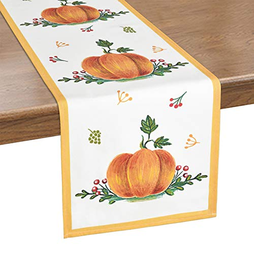 Alishomtll Thanksgiving Table Runner, Watercolor Pumpkin Table Runner, Green and Orange Autumn Table Runner for Fall, Catering Events, Dinner Parties, Indoor and Outdoor Parties