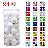 GameXcel Christmas Balls Ornaments for Xmas Tree - Shatterproof Christmas Tree Decorations Large Hanging Ball White 2.5' x 24 Pack
