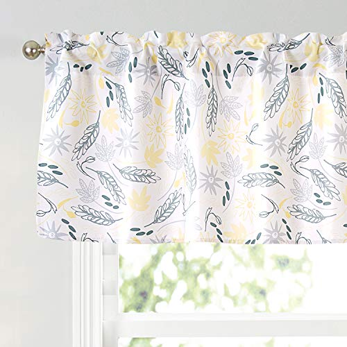 Annlaite Floral Flower Thermal Insulated Energy Saving Window Curtain Valance for Living Room/Bedroom/Kitchen/Kids Rod Pocket 52 by 18 Inch Yellow/Gray