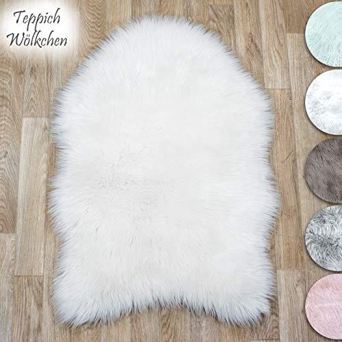 Teppich Wölkchen Lammfell-Teppich Kunstfell Schaffell Imitat | Wohnzimmer Schlafzimmer Kinderzimmer | Als Faux Bett-Vorleger oder Matte für Stuhl Sofa (Weiss - 55 x 80 cm)
