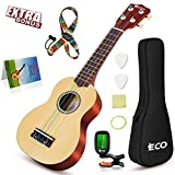 Soprano Ukulele Beginner Kit - 21 Inch w/How to play Songbook Carrying bag Digital Tuner All in One Set