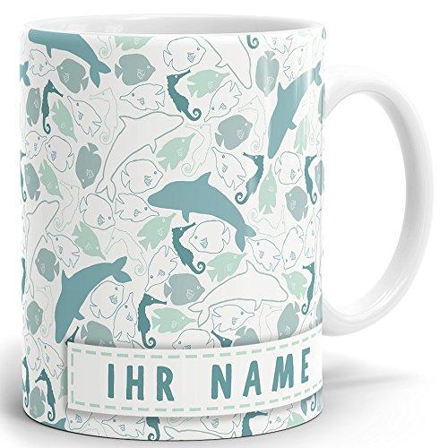 Drucksaal Namenstasse-Tasse-Becher-Kaffeetasse-mit Name-mit Namen individuell und persönlich Motiv Delfine im Meer Tasse mit Panoramadruck