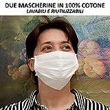 Due Mascherine Lavabili in Cotone Filtrante con trattamento Antibatterico e Idrorepellente.
