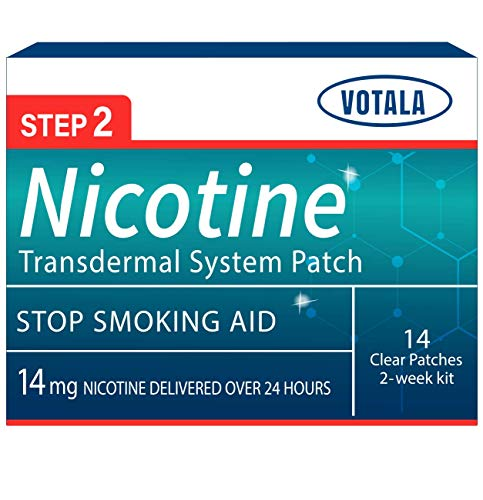 Votala Nature Nicotine Patches Step 2, 14milligram  Nicotine Delivered 24 hours Transdermal System, Quit Smoking, Stop Smoking Aid, Anti Smoking patches, 14 Patches, 2-week Kit, Step 2