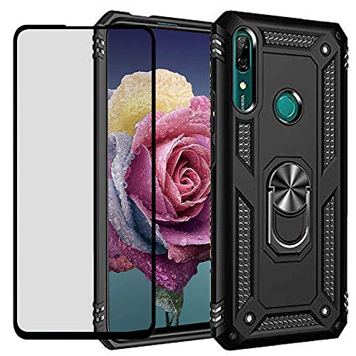 DuoLide for Huawei P Smart Z / Y9 Prime 2019 Case with Tempered Glass Screen Protector,Hybrid Heavy Duty Dual Layer Anti-Scratch Shockproof Defender Kickstand Case Cover, Black