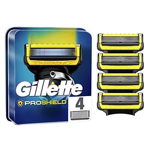 Gillette ProShield Cuchillas de Afeitar Hombre, Paquete de 4 Cuchillas de Recambio