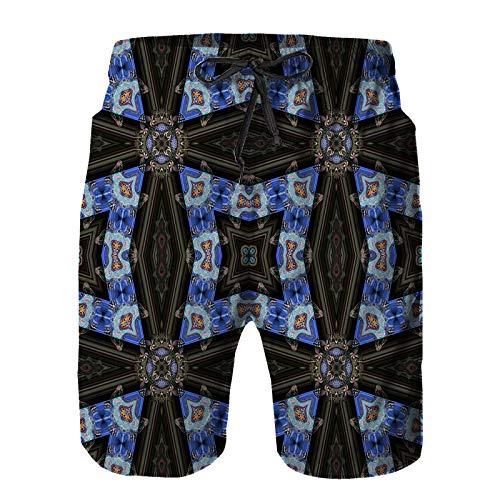 Aerokarbon Hombres Playa Bañador Shorts,Azulejos caleidoscópicos del Papel Pintado,Traje de baño con Forro de Malla de Secado rápido 2XL