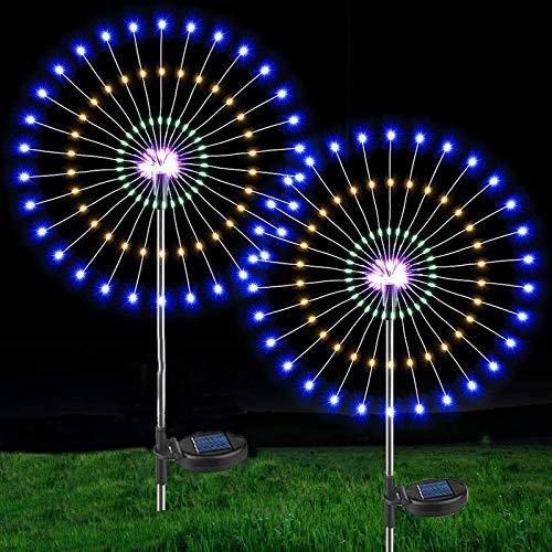 Lámparas solares para jardín,2 unidades 150 leds luz solar de fuegos artificiales 40 cables de...