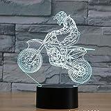 Lámpara de ilusión 3D Luz de noche LED Off Road Motocicleta Siete colores Toque Visual Decoración de regalo Lámpara de mesa