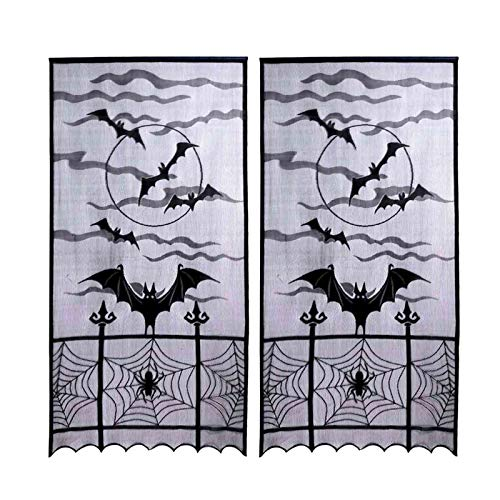 JunMu 2pcs Halloween Curtains for Window, 40x84 inches Black Lace Curtains, Spider Web Window Curtains with Flying Bats,Halloween Decorations for Window Kitchen Door Panel