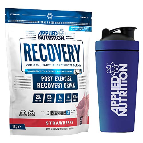 Applied Nutrition Bundle Recovery 1kg + 750ml Steel Protein Shaker | Post Workout Muscle Recovery Drink, Protein Powder, Carb & Electrolyte Blend with BCAA's (Strawberry)