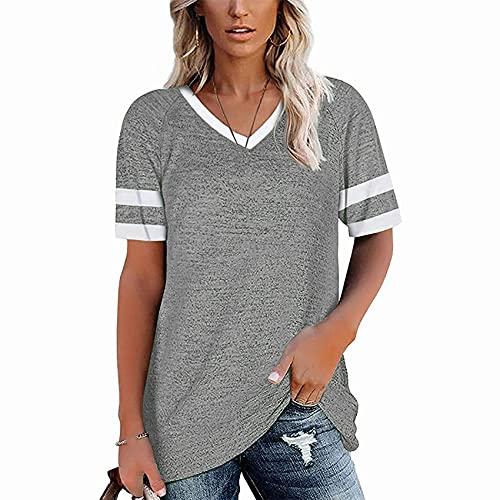 EuropäIsche Und Amerikanische Cross-Border Damen Bluse Amazon'S Neue GespleißTe äRmel Einfarbig LäSsiges V-Ausschnitt Kurzarm T-Shirt