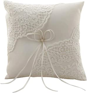 Amajoy Satin and Lace Wedding Ring Pillow Cushion Embroider Flower with Bow, 8 Inch (21cmx 21cm) Ring Bearer for Beach Wedding, Wedding Ceremony