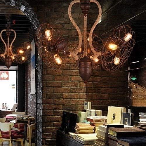Belle Chanvre corde lustre européen rétro créatif de gros lustre ventilateur suspendu lampe de pendaison 9 têtes de salon de plafond décoratif lustre de plafonnier en forme de ventilation de tuyau d'e