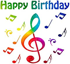1/4 Sheet - Band Music Notes Rainbow Happy Birthday - Edible Cake/Cupcake Party Topper - D22721