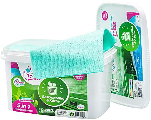 CleaningBox® Feuchte 5-in-1 Mikrofaser Reinigungstücher Wischtücher Gastronomie & Küche, 35x Feuchttücher, Duft Pfefferminze, Grün 40x30 cm - Biologisch abbaubar und Made in Germany