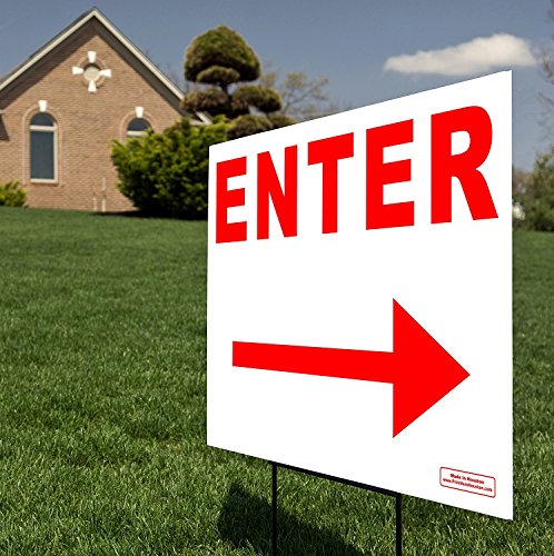 """Large 24"""" x 18"""" Enter Right & Left Arrow Red Sign - Traffic Directional Sign w/Metal Stake"""