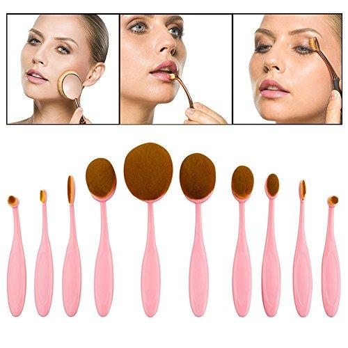 Micup Pinceau de maquillage brosse à dent rose ovale mis en poudre Rouge de la Fondation
