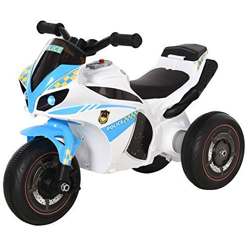 HOMCOM Kids Ride-On Police Bike 3-Wheel Vehicle w/ Music Lights Safe Seat Handlebars Toddler NO POWER Child Learning Fun Development 18-36 Months Blue