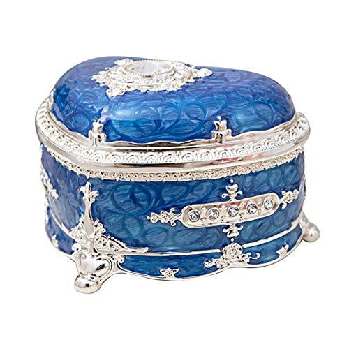 Cajas de joyería, caja de joyería de piedras preciosas en forma de corazón europea metálica, caja de almacenamiento de joyería de esmalte princesa