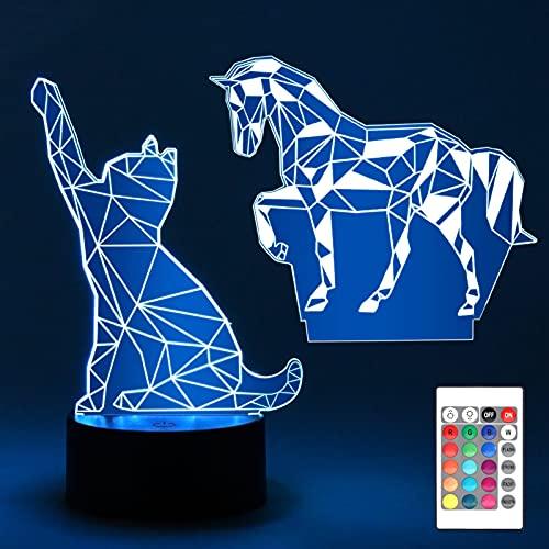 tao pipe 3D Nachtlicht, Soft Kids LED Nachtlampe 16 Farbe Dimmbare Änderung Intelligente Fernbedienungsleuchte mit Katze Pferd Acrylplatte für Schlafzimmer Babyzimmer Kind Nachtbeleuchtung