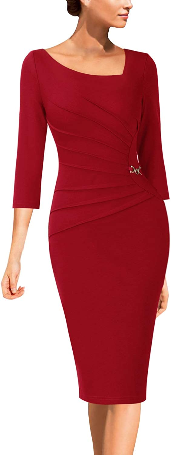 VfEmage Womens Celebrity Elegant Ruched Business Cocktail Bodycon Dress