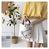 bolsa de lona New Design Ladies Pequeño Bolso de lona Linda Impresión Mini tela Tote Femenino Bolsa de teléfono celular Algodón bolsas de mano encantador bolso para niñas (Color : Blush Bear)